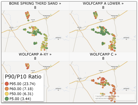 Map of wells from the ML model. p90/P10 Ratios