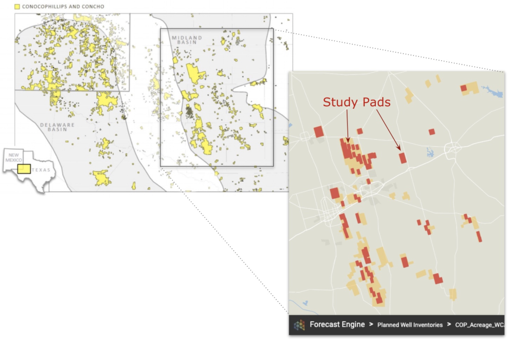OP & Concho combined acreage (left, source) along with pad locations used in the regional study (right, image taken from Novi Forecast Engine)